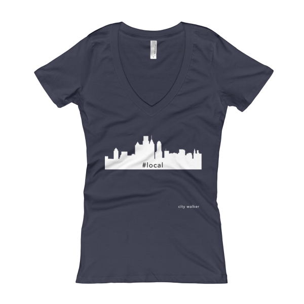 midnight navy New York City Skyline Woman's Local t-shirt